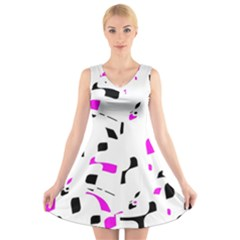 Magenta, black and white pattern V-Neck Sleeveless Skater Dress