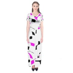 Magenta, black and white pattern Short Sleeve Maxi Dress