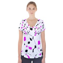 Magenta, black and white pattern Short Sleeve Front Detail Top