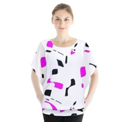 Magenta, black and white pattern Blouse