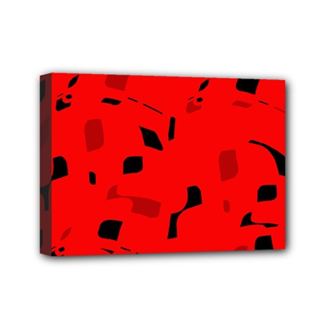 Red and black pattern Mini Canvas 7  x 5