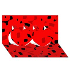 Red and black pattern Twin Hearts 3D Greeting Card (8x4)