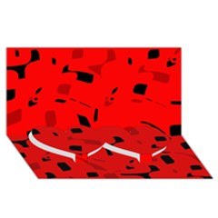 Red And Black Pattern Twin Heart Bottom 3d Greeting Card (8x4)
