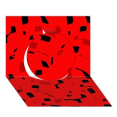 Red And Black Pattern Circle 3d Greeting Card (7x5)