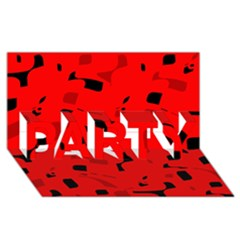 Red and black pattern PARTY 3D Greeting Card (8x4)