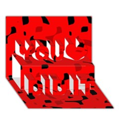 Red and black pattern You Did It 3D Greeting Card (7x5)