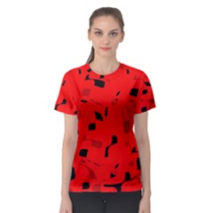 Red and black pattern Women s Sport Mesh Tee