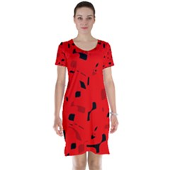 Red and black pattern Short Sleeve Nightdress