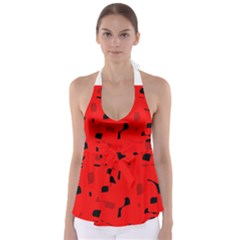 Red and black pattern Babydoll Tankini Top