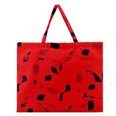 Red And Black Pattern Zipper Large Tote Bag