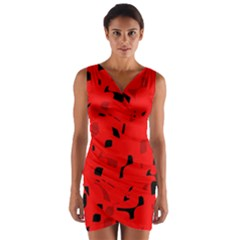 Red and black pattern Wrap Front Bodycon Dress