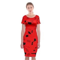 Red and black pattern Classic Short Sleeve Midi Dress