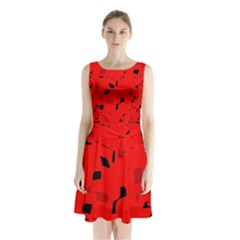 Red and black pattern Sleeveless Waist Tie Dress