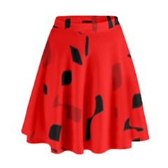 Red And Black Pattern High Waist Skirt
