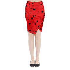 Red and black pattern Midi Wrap Pencil Skirt