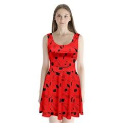 Red and black pattern Split Back Mini Dress