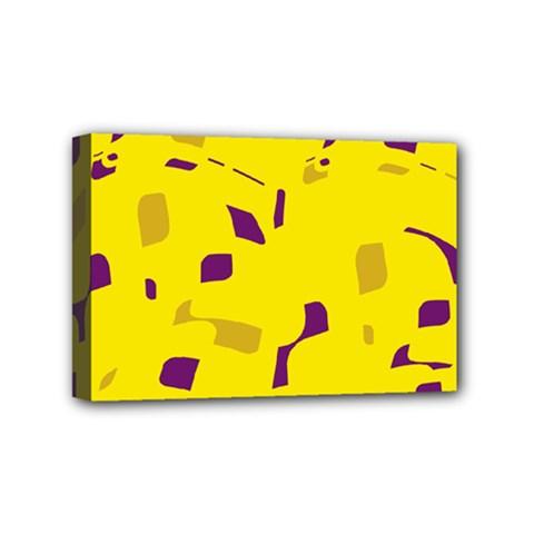 Yellow and purple pattern Mini Canvas 6  x 4