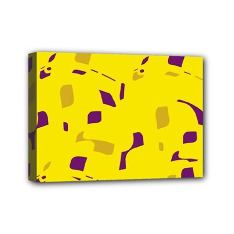Yellow and purple pattern Mini Canvas 7  x 5
