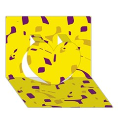 Yellow and purple pattern Heart 3D Greeting Card (7x5)