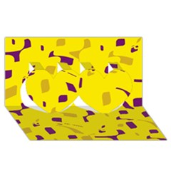 Yellow and purple pattern Twin Hearts 3D Greeting Card (8x4)