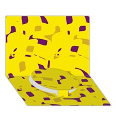 Yellow and purple pattern Circle Bottom 3D Greeting Card (7x5)