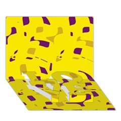 Yellow and purple pattern LOVE Bottom 3D Greeting Card (7x5)