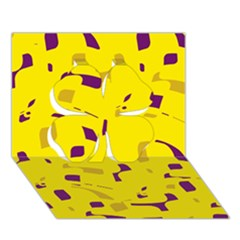 Yellow and purple pattern Clover 3D Greeting Card (7x5)