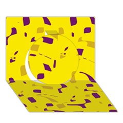 Yellow and purple pattern Circle 3D Greeting Card (7x5)