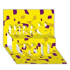 Yellow And Purple Pattern Miss You 3d Greeting Card (7x5)