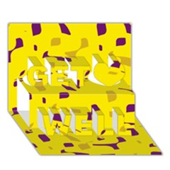 Yellow and purple pattern Get Well 3D Greeting Card (7x5)