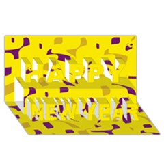 Yellow and purple pattern Happy New Year 3D Greeting Card (8x4)