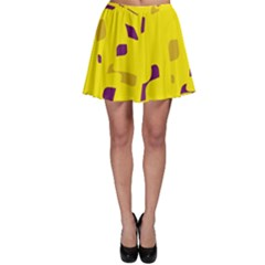 Yellow and purple pattern Skater Skirt