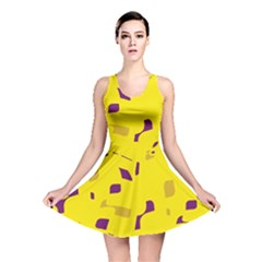 Yellow and purple pattern Reversible Skater Dress