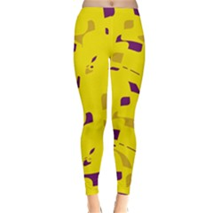 Yellow and purple pattern Winter Leggings