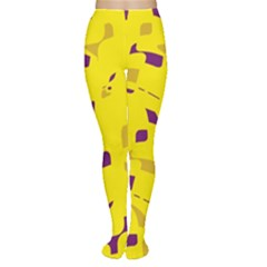 Yellow and purple pattern Women s Tights