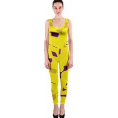 Yellow and purple pattern OnePiece Catsuit