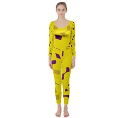 Yellow and purple pattern Long Sleeve Catsuit