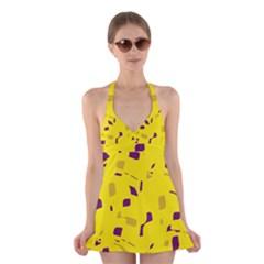Yellow And Purple Pattern Halter Swimsuit Dress