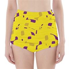 Yellow And Purple Pattern High Waisted Bikini Bottoms