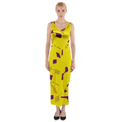 Yellow And Purple Pattern Fitted Maxi Dress