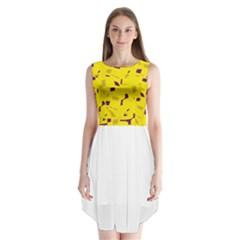 Yellow and purple pattern Sleeveless Chiffon Dress