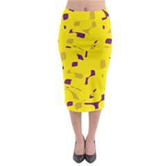 Yellow And Purple Pattern Midi Pencil Skirt
