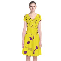 Yellow and purple pattern Short Sleeve Front Wrap Dress