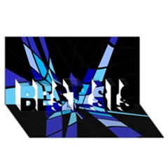 Blue abstart design BEST SIS 3D Greeting Card (8x4)