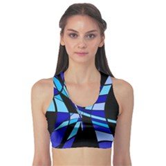 Blue abstart design Sports Bra