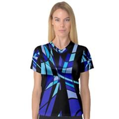 Blue abstart design Women s V-Neck Sport Mesh Tee