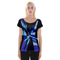 Blue abstart design Women s Cap Sleeve Top
