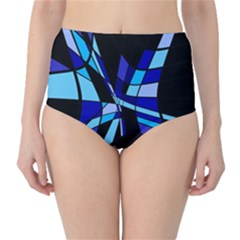 Blue abstart design High-Waist Bikini Bottoms