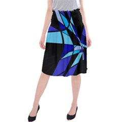 Blue Abstart Design Midi Beach Skirt