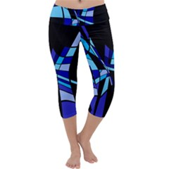 Blue abstart design Capri Yoga Leggings